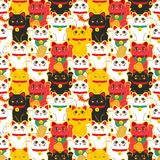 Maneki-neko cat. Seamless pattern with sitting hand drawn lucky cats. Japanese culture. Doodle drawing. Vector