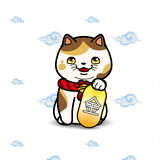 Maneki Neko cat statue. East asian  symbolic of luck, fortune, vector illustration with simple seamless pattern Stock Image