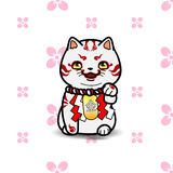 Maneki Neko cat statue. East asian  symbolic of luck, fortune, vector illustration with simple seamless pattern Stock Photos