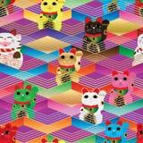 Maneki Neko Chevron colorful line seamless pattern Royalty Free Stock Photography
