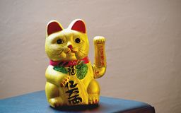The maneki-neko. Is a common Japanese figurine  which is often believed to bring good luck to the owner Royalty Free Stock Image