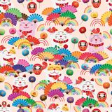 Maneki Neko fat fan group rainbow seamless pattern. This illustration is design group colors fans with decoration rainbow lines, Maneki Neko fat happy smile with Royalty Free Stock Photography