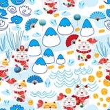 Maneki Neko fat Fuji group stylish seamless pattern. This illustration is design Maneko Neko fat with group element fans, Fuji Mountains, clouds, rabbits and Royalty Free Stock Images