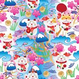 Maneki Neko fat Japanese doddle cherry blossom seamless pattern. This illustration is design Maneki Neko with doddle Japanese style background with cherry flower Stock Photos