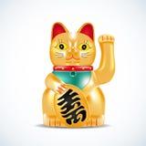 Maneki neko, golden cat. Japanese golden little sculpture. Lucky cat on red circle with fireworks. Vector illustration. Stock Photos