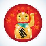 Maneki neko, golden cat. Japanese golden little sculpture. Lucky cat on red circle with fireworks. Vector illustration. Stock Photo