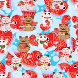 Maneki Neko happy big fish seamless pattern. This illustration is drawing Japanese Maneki Neko happy with holding Koi fish and background white big Koi fish and Stock Photo