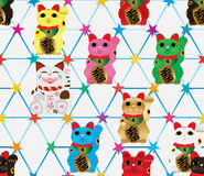 Maneki Neko hexagon star symmetry seamless pattern Royalty Free Stock Photos