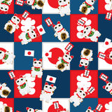 Maneki Neko hold flag vintage square seamless pattern Stock Image