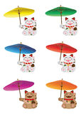 Maneki Neko holding umbrella set Stock Photography