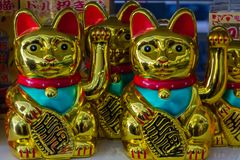 Maneki Neko Japan Lucky Cats stock afbeeldingen