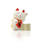 Maneki neko - Japanese Lucky Cat. The Maneki Neko; also known as Welcoming Cat, Lucky Cat, Money cat or Fortune Cat) is a common Japanese sculpture, often made royalty free stock photo