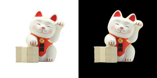 Maneki neko - Japanese Lucky Cat. The Maneki Neko; also known as Welcoming Cat, Lucky Cat, Money cat or Fortune Cat) is a common Japanese sculpture, often made royalty free stock image