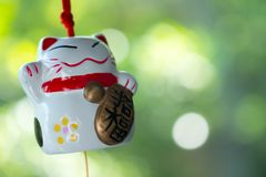 Maneki Neko is Japanese lucky cat doll hanging. On the window with nature background stock image