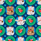 Maneki Neko Koi fish symmetry circle seamless pattern Stock Photography