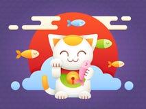 Maneki Neko lucky charm flat vector cat Royalty Free Stock Image
