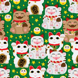 Maneki Neko pair all happy seamless pattern. This illustration is drawing Japanese happy Maneki Neko, all happy in green background with yellow color element Royalty Free Stock Photo