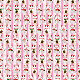 Maneki Neko pair all happy vertical seamless pattern. This illustration is drawing many Japanese Maneki Neko  and all happy in vertical pink color background and Royalty Free Stock Photo