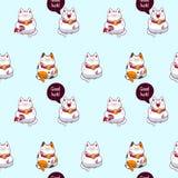 Maneki neko pattern. Vector background with maneki neco, beckoning cats, seamless pattern Royalty Free Stock Photos