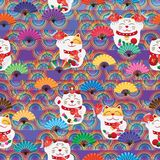 Maneki Neko rainbow half line fan seamless pattern Stock Image