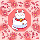 Maneki neko and sakura flowers Royalty Free Stock Image