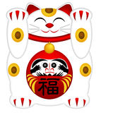Maneki Neko Welcoming Cat with Daruma Stock Photo