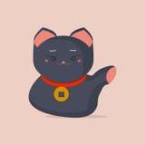 Maneki-neko or welcoming cat or lucky cat with a coin collar on its neck. Beckoning cat made in a flat cartoon style. Maneki Neko. Maneki-neko or welcoming cat stock illustration
