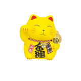 Maneki Neko, Yellow lucky cat isolated. On white background stock image