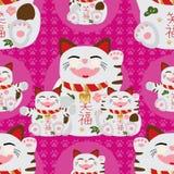 Maneki pink paw seamless pattern Royalty Free Stock Photo