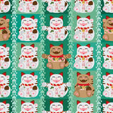 Maneki white brown symmetry vertical seamless pattern Royalty Free Stock Photo