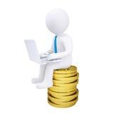 manen 3d med bärbar datorsammanträde på en hög av guld- myntar Royaltyfri Bild