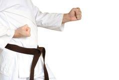 Manen i en kimono och kuter för kampsportar arkivbilder