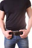 Manen i jeans Fotografering för Bildbyråer