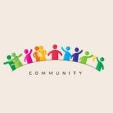 Manen klickar på gemenskapen knäppas, bemannar i gemenskapen som föreställs av symboler stock illustrationer