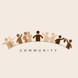 Manen klickar på gemenskapen knäppas, bemannar i gemenskapen som föreställs av symboler Royaltyfri Fotografi