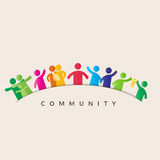 Manen klickar på gemenskapen knäppas, bemannar i gemenskapen som föreställs av symboler Arkivfoton