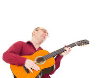 Leka gitarr för man Royaltyfri Foto