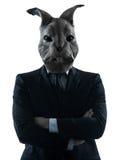Manen med kanin maskerar silhouetteståenden Fotografering för Bildbyråer