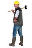 Manen med pulka-bultar Arkivbild