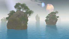 2 manen vreemd landschap royalty-vrije illustratie