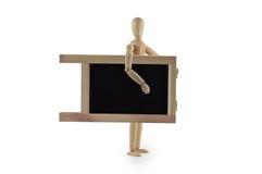 Manequim de madeira com quadro-negro Imagem de Stock