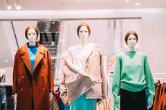 5fffa463a Manequins vestidos na roupa ocasional da mulher fêmea na loja de Sh foto de  stock