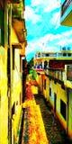 Manera amarilla que encuentra el cielo azul stock de ilustración
