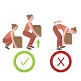 Manera correcta e incorrecta de la postura que levanta el ejemplo grande de las cosas del objeto de la posición apropiada libre illustration