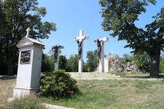 Manera de dolores por la abadía de Tihany en el morón de la península de Tihany, Balaton Imagenes de archivo