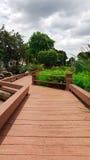 Manera de madera del paseo con el paisaje del jardín Fotos de archivo