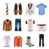 Manera del hombre e iconos de la ropa Imagenes de archivo