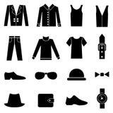 Manera del hombre e iconos de la ropa Foto de archivo libre de regalías