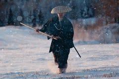 Manera del samurai del guerrero foto de archivo