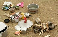 Manera india de cocinar al aire libre Fotografía de archivo libre de regalías